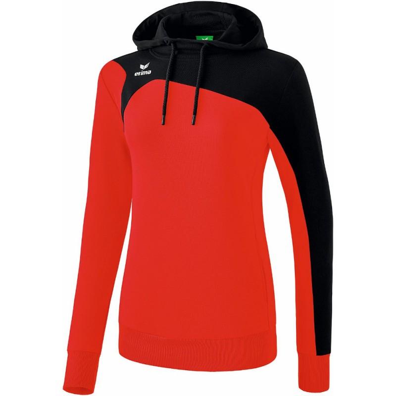 Sweat à capuche Erima Club1900 2.0 femme, couleur rouge et noir
