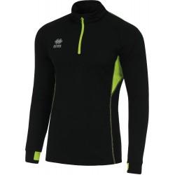 Sweat zippé ERREA Fartlek noir et vert fluo de face