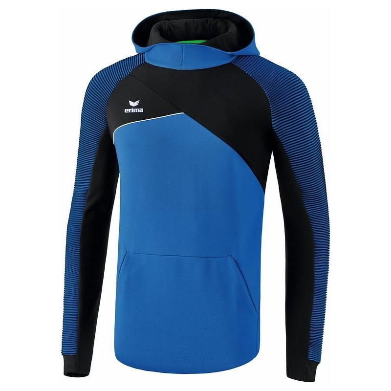 Sweat à capuche ERIMA Premium One 2.0, couleur bleu roi et noir