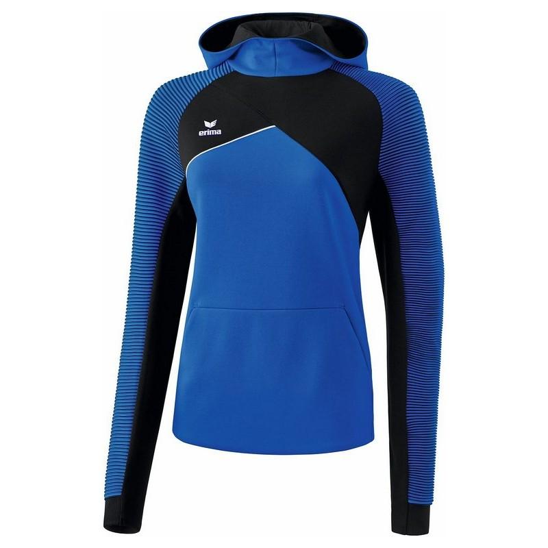 Sweat à capuche ERIMA Premium One 2.0 femme, couleur bleu roi et noir