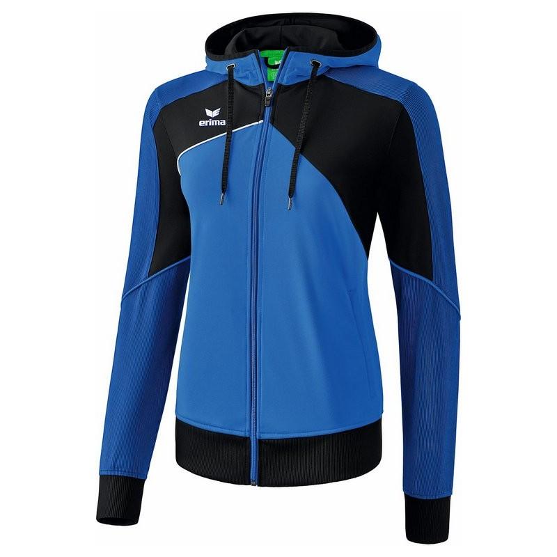 Veste à capuche ERIMA Premium One 2.0 femme, couleur bleu roi et noir