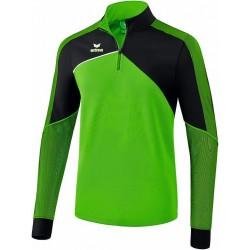 Sweat 1/4 zip ERIMA Premium One 2.0, couleur vert et noir