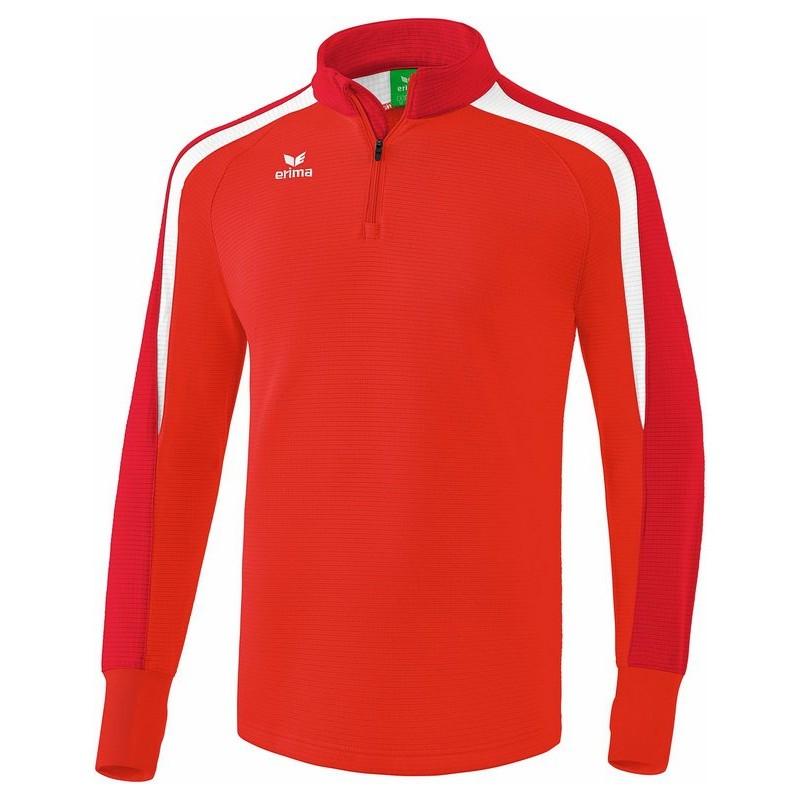 Sweat 1/4 zip ERIMA Liga 2.0, couleur rouge, tango rouge et blanc