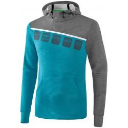 Sweat à capuche ERIMA 5-C, couleur bleu oriental et gris chiné