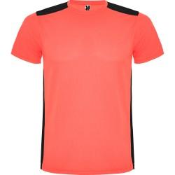 Tee Shirt running Détroit coloris corail fluo/noir
