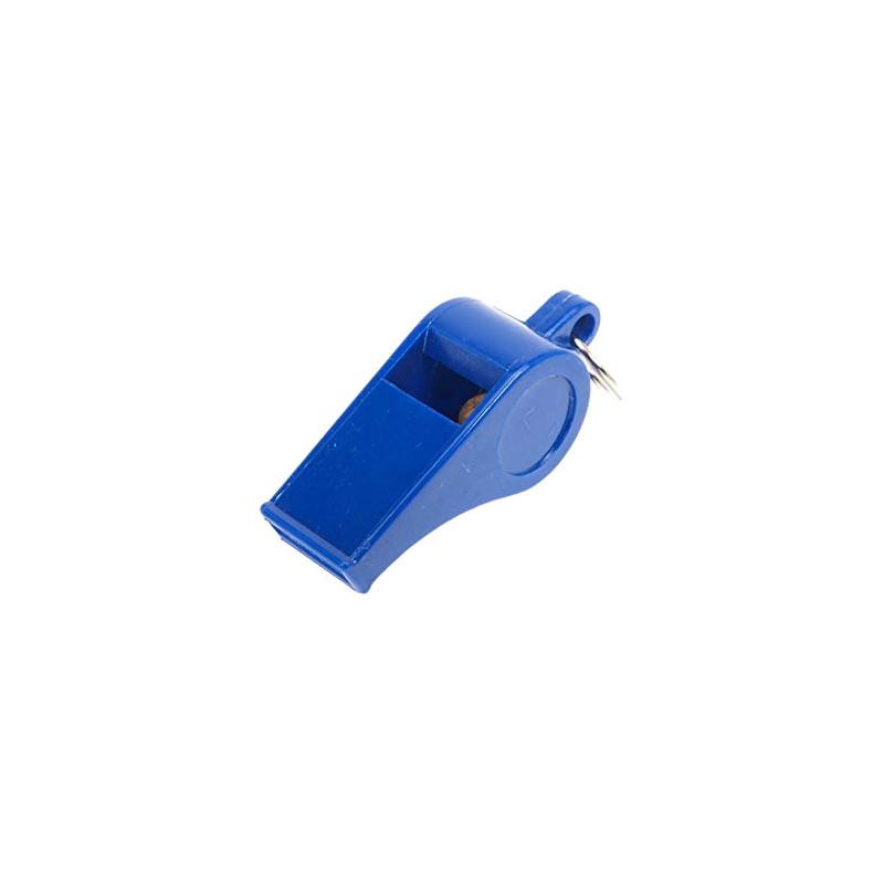 Sifflet à bille en plastique coloris bleu