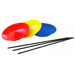 Assiette de jonglerie, avec bâton en bois