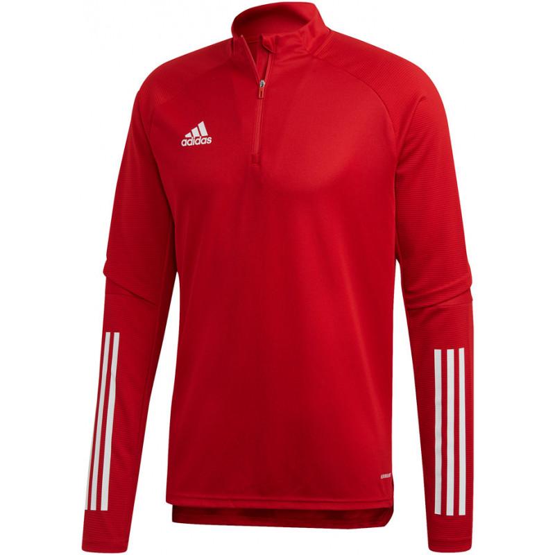 Sweat d'entrainement Training Top ADIDAS Condivo 20 rouge et blanc, de face