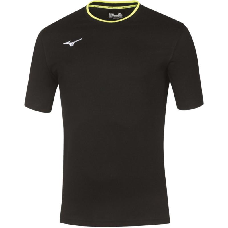 Tee-shirt MIZUNO, coloris noir et jaune fluo