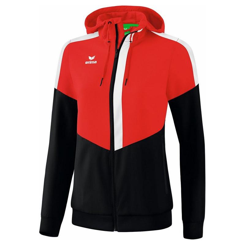 Veste à capuche Tracktop ERIMA Squad Femme, couleur rouge, noir et blanc, de face