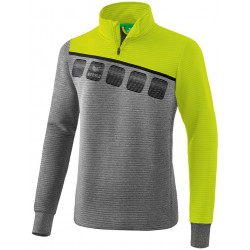 Sweat d'entraînement 1/2 Zip ERIMA 5-C, couleur gris chiné et citron pop