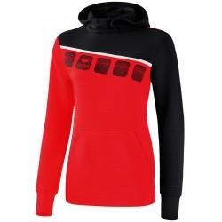Sweat shirt à capuche Erima 5-C Femme, couleur rouge et noir