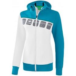 Veste à capuche Erima 5-C Femme, couleur blanc et bleu oriental