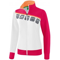Veste de survêtement de présentation Erima 5-C femme, couleur blanc et rose amour