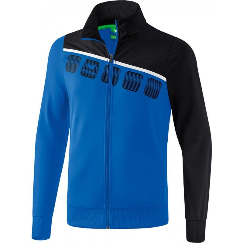 Veste de survêtement club ERIMA 5-C, couleur bleu roi et noir